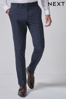 Mid Blue Check Suit: Trousers