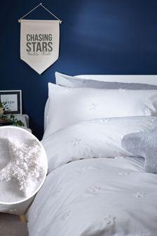 Ecru/White Ecru/White Tufted Star Duvet Cover and Pillowcase Set