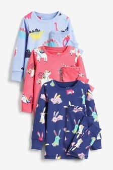 Multi 3 Pack Bright Character Snuggle Pyjamas (9mths-12yrs)