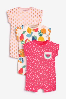 Bright Fruit 3 Pack Printed T-Shirt Rompers (0mths-3yrs)