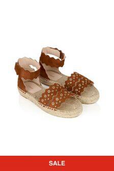 Chloe Kids Girls Orange Leather Sandals