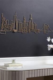Gold New York Skyline Wire Plaque