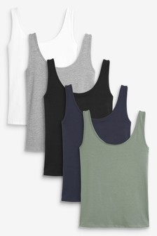 Multi 5 Pack Thick Strap Vests