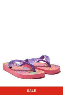 Havaianas Girls Pink Floral Flip Flops