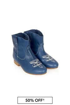 Bonpoint Girls Blue Leather Boots