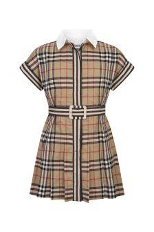 Burberry Kids Girls Beige Cotton Dress