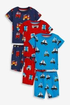 Red/Blue Emergency Vehicles 3 Pack Short Pyjamas (9mths-10yrs)