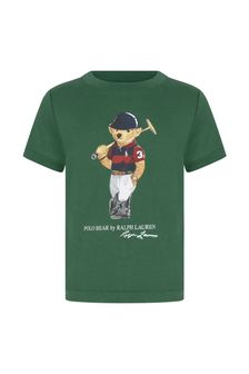 Ralph Lauren 키즈 베이비 보이즈 그린 코튼 티셔츠