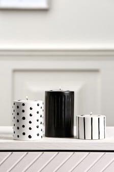 Monochrome Set of 3 Ceramic Tealight Holders