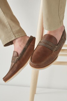 Brown Leather Waxy Loafers