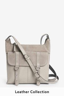 Grey Leather Messenger Bag