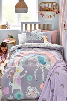 Purple Purple 100% Cotton Ditsy Unicorn Reversible Duvet Cover and Pillowcase Set