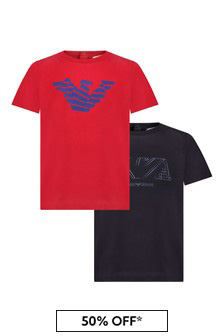 Emporio Armani Baby 2 Pack Red And Navy T-Shirts