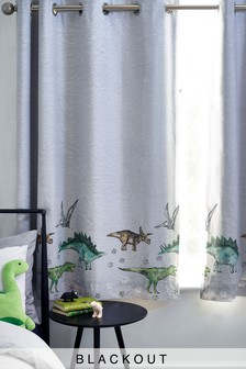 Grey Grey Dino Land Eyelet Blackout Curtains