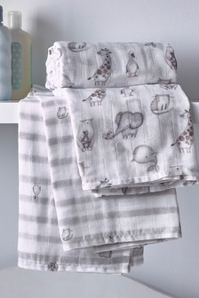 Baby Animals 2 Pack Organic Cotton Swaddle Blanket