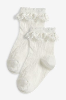 2 Pairs Women Girls High Knee Socks with Ruffle Flower Lace White Black Socks Lace Socks