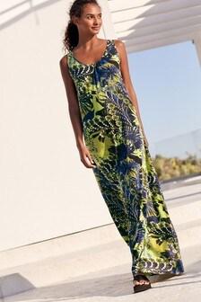Green Floral Trapeze Maxi Dress