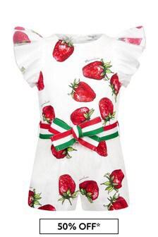 Monnalisa Girls White Cotton Playsuit