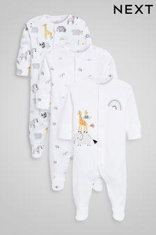 Ecru Safari 3 Pack Delicate Appliqué Sleepsuits (0-18mths)