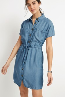 Blue TENCEL™ Utility Tie Waist Dress