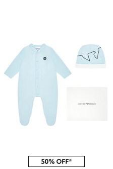 Emporio Armani Baby Blue Babygrow And Hat Gift Set