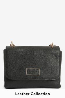 Black Leather Cross-Body Bag With Chain Strap