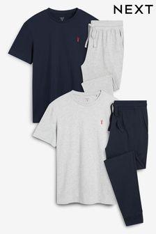 Navy/Grey Cuffed Pyjama Sets 2 Pack