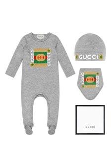 GUCCI Kids Baby Grey Cotton Babygrow, Bib And Hat Gift Set