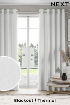 White Benton Eyelet Blackout/Thermal Curtains