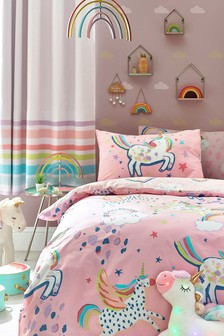 Pink Pink Glow In The Dark Party Unicorn Duvet Cover And Pillowcase Set