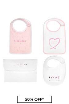 Givenchy Kids Baby Girls Pink Cotton Bib Set
