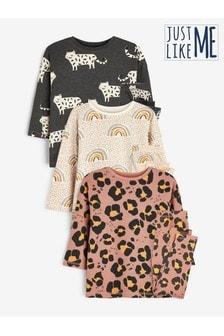 Rust/Grey 3 Pack Cotton Character Pyjamas (9mths-12yrs)