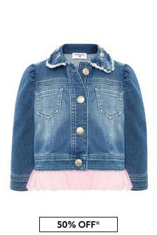 Monnalisa Baby Blue Cotton Denim Jacket