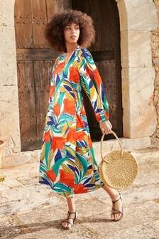 Bright Floral Wrap Dress
