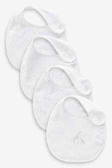 White 4 Pack Cotton Print Bibs