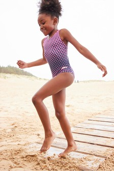 Pink/Navy Sports Swimsuit (3-16yrs)