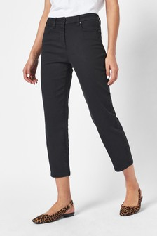 Black Cropped Straight Jeans