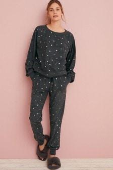 Charcoal Stars Cosy Supersoft Pyjama Set