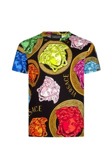 Versace Boys Black Cotton T-Shirt