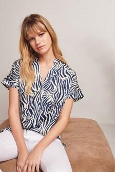 Navy Zebra Print Woven Mix Tunic