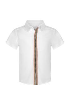 Burberry Kids Baby Boys White Cotton Short Sleeve Shirt