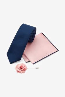Navy/Pink Tie With Pocket Square And Pin Set