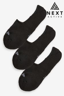 Black Active Cushion Sole Invisible Socks Three Pack