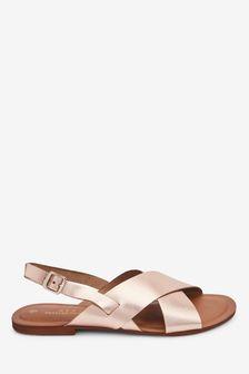 Rose Gold Forever Comfort® Cross Front Slingback Sandals