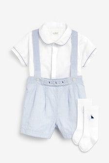 Blue/White Smart Shirt Bodysuit, Shorts And Sock Set (0mths-3yrs)