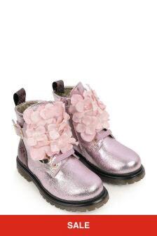 Monnalisa Girls Pink Leather Flower Boots