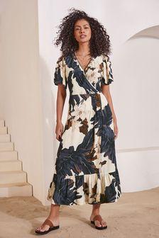 Ecru Floral Short Sleeve Wrap Dress