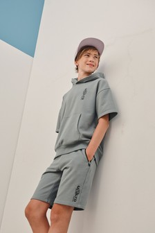 Grey Short Sleeve Hoodie And Shorts Co-ord Set (3-16yrs)