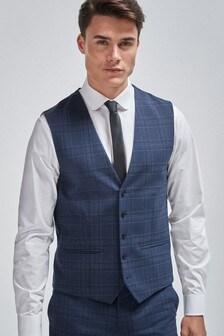 Bright Blue Check Suit: Waistcoat