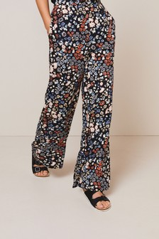 Black Floral Wide Leg Trousers